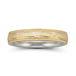 BEST VALUE! Womens 4mm 10K Gold & Sterling Silver Bonded Wedding Band