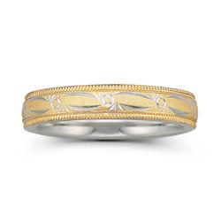 BEST VALUE! Womens 4mm 10K Gold & Sterling Silver Bonded Wedding Band