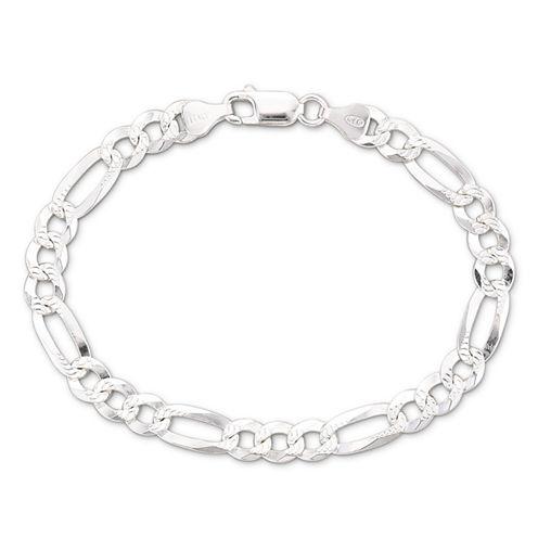"""Made in Italy Men's 8.5"""" 6.9mm Figaro Bracelet in Sterling Silver"""