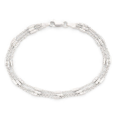 "jcpenney.com | Silver 7.5"" 3-Strand Bar Station Cable Bracelet"
