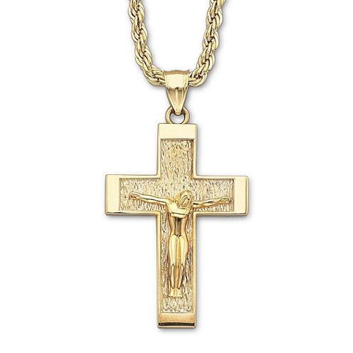 18K/Silver Crucifix Pendant Necklace