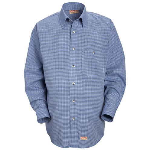 Red Kap Long Sleeve Mini Plaid Button Up Shirt Big and Tall