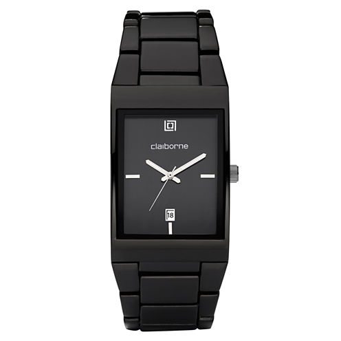 Claiborne Mens Black Ionic Plating Watch