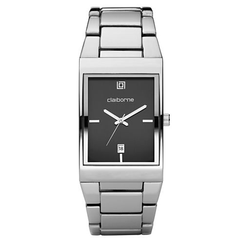 Claiborne Mens Silver-Tone Ionic Plating Watch