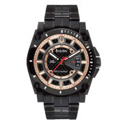 Bulova® Black & Rose Gold-Tone Precisionist Watch 98B143