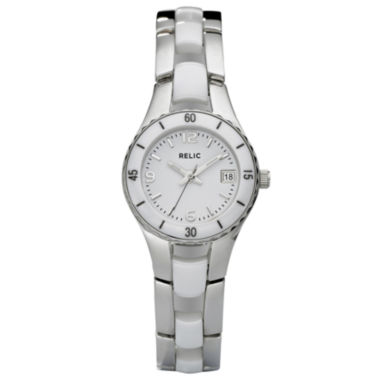jcpenney.com | Relic® Womens White Ceramic & Steel Dress Watch ZR11894
