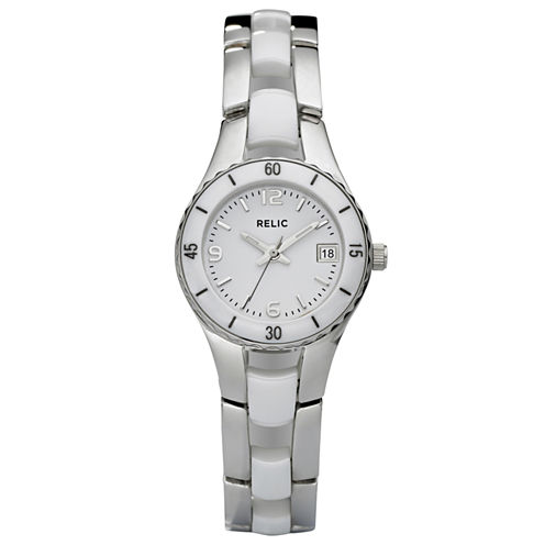 Relic® Womens White Ceramic & Steel Dress Watch ZR11894