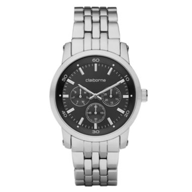 jcpenney.com | Claiborne Mens Black & Silver-Tone Multifunction Watch
