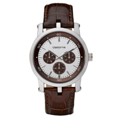 jcpenney.com | Claiborne Mens Brown Leather Strap Watch