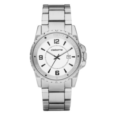 jcpenney.com | Claiborne Mens Silver-Tone Easy Reader Watch