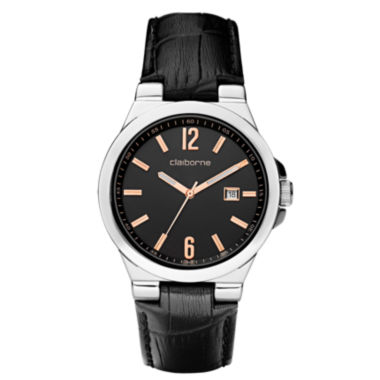 jcpenney.com | Claiborne Mens Black Leather Strap Watch