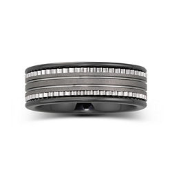 BEST VALUE! Mens 7.5mm Ceramic & Stainless Steel Band