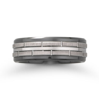 jcpenney.com |  Men's Black Ceramic & Stainless Steel Brick-Pattern Wedding Band