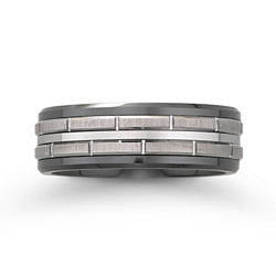 BEST VALUE! Men's Black Ceramic & Stainless Steel Brick-Pattern Wedding Band