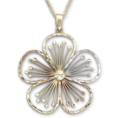 jcpenney.com | Tri-Color Flower Pendant Necklace 10K Gold