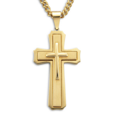 jcpenney.com | Mens Stainless Steel Cross Pendant Necklace