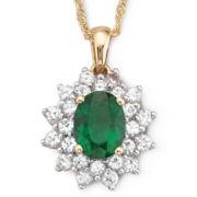 Lab Created Emerald & White Sapphire Pendant