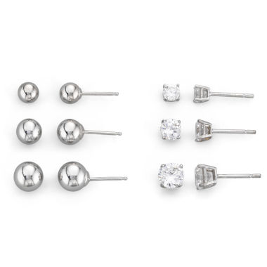 jcpenney.com | Sterling Silver 6-Pair Stud Earring Set