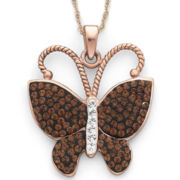 Rose 'N Chocolate Crystal Butterfly Pendant