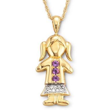 jcpenney.com | 18K Gold-Plated Sterling Silver Birthstone Girl Charm Pendant Necklace
