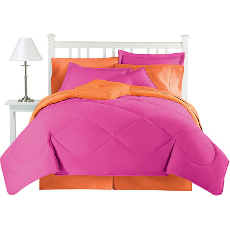 jcp home Cotton Reversible Hot Rose Comforter