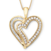 Diamond Heart Pendant Necklace 1/2 CT. T.W. 10K Yellow Gold