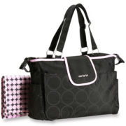Carter's® Black with Pink Trim Diaper Bag
