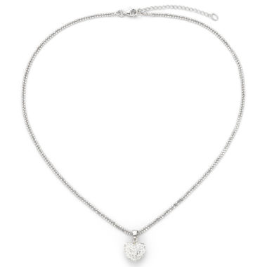 jcpenney.com | Crystal Heart Pendant Necklace with Double Chain