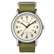 Timex® Weekender Green Fabric Strap Watch