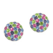 Sterling Silver Multi-Color Stud Earrings