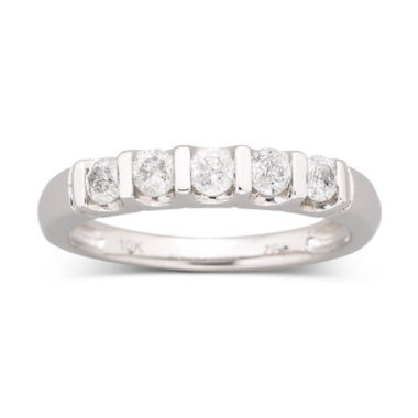 jcpenney.com | 1/2 CT. T.W. Diamond Bar Band Ring 10K White Gold