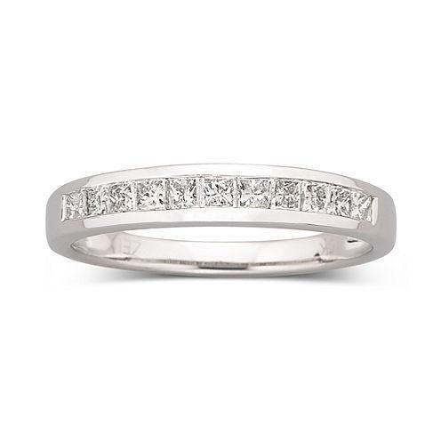 1/2 CT. T.W. Princess Diamond Band 10K White Gold