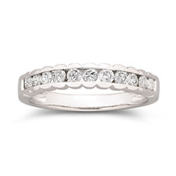 1/2 CT. T.W. Diamond Scalloped Band 10K White Gold