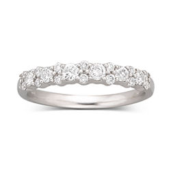 1/2 CT. T.W. Diamond Round Band 10K White Gold