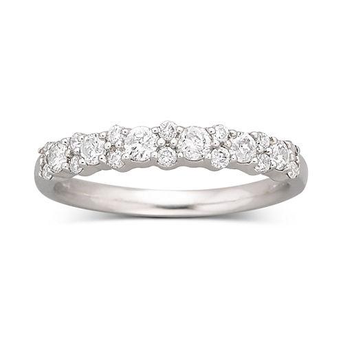 1/2 CT. T.W. Diamond Round Band 10K White Gold