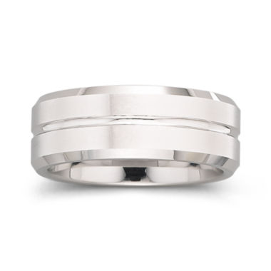 jcpenney.com |  Tungsten Ring, Mens 8mm Groove Center Band