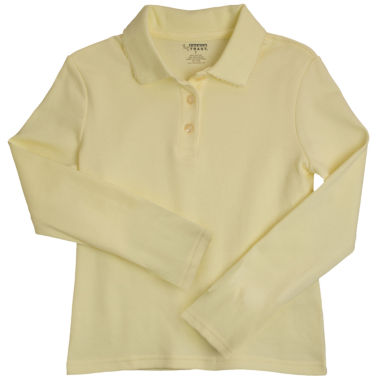 jcpenney.com | French Toast® Picot-Trimmed, Long-Sleeve Polo Shirt - Girls 7-16
