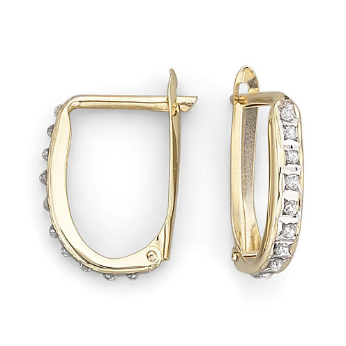 Diamond Fascination™ 14K Yellow Gold Oval Hoop Earrings