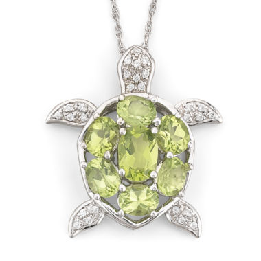 jcpenney.com | Genuine Peridot & White Topaz Turtle Pendant Necklace