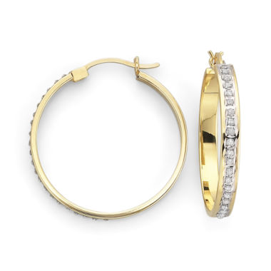 jcpenney.com | Diamond Fascination™ 18K Gold-Plated Round Hoops 29mm