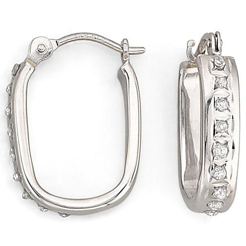 """Diamond Fascination™ """"U"""" Hoop Earrings"""