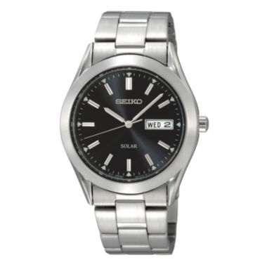 jcpenney.com | Seiko® Mens Solar Black-Dial Stainless Steel Watch SNE039