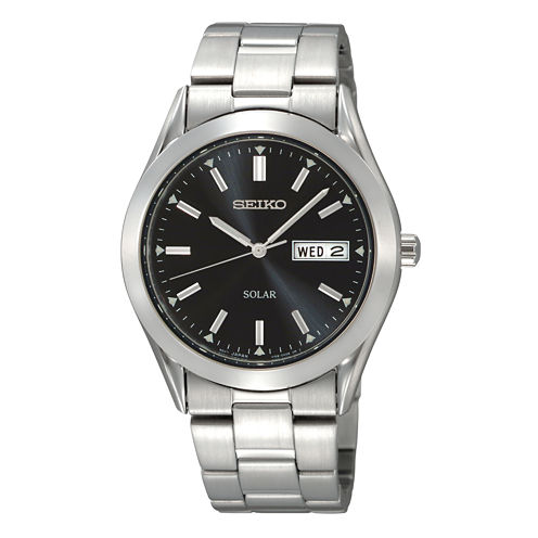 Seiko® Mens Solar Black-Dial Stainless Steel Watch SNE039