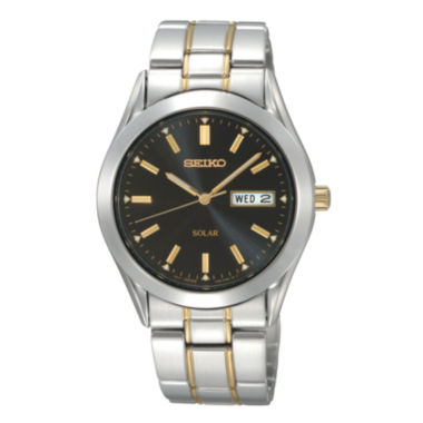 jcpenney.com | Seiko® Mens Black-Dial Two-Tone Solar Watch SNE047