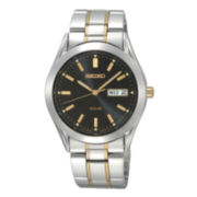 Seiko® Mens Black-Dial Two-Tone Solar Watch