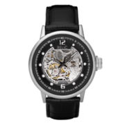 Relic® Men's Black Leather Skeleton Dial Watch