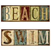 Set of 2 Beach Wall Plaques