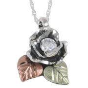 Black Hills Gold Jewelry by Coleman® Rose Cubic Zirconia Pendant Necklace
