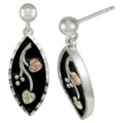 Black Hills Gold Jewelry by Coleman® Floral Earrings Sterling Silver & 10K Gold