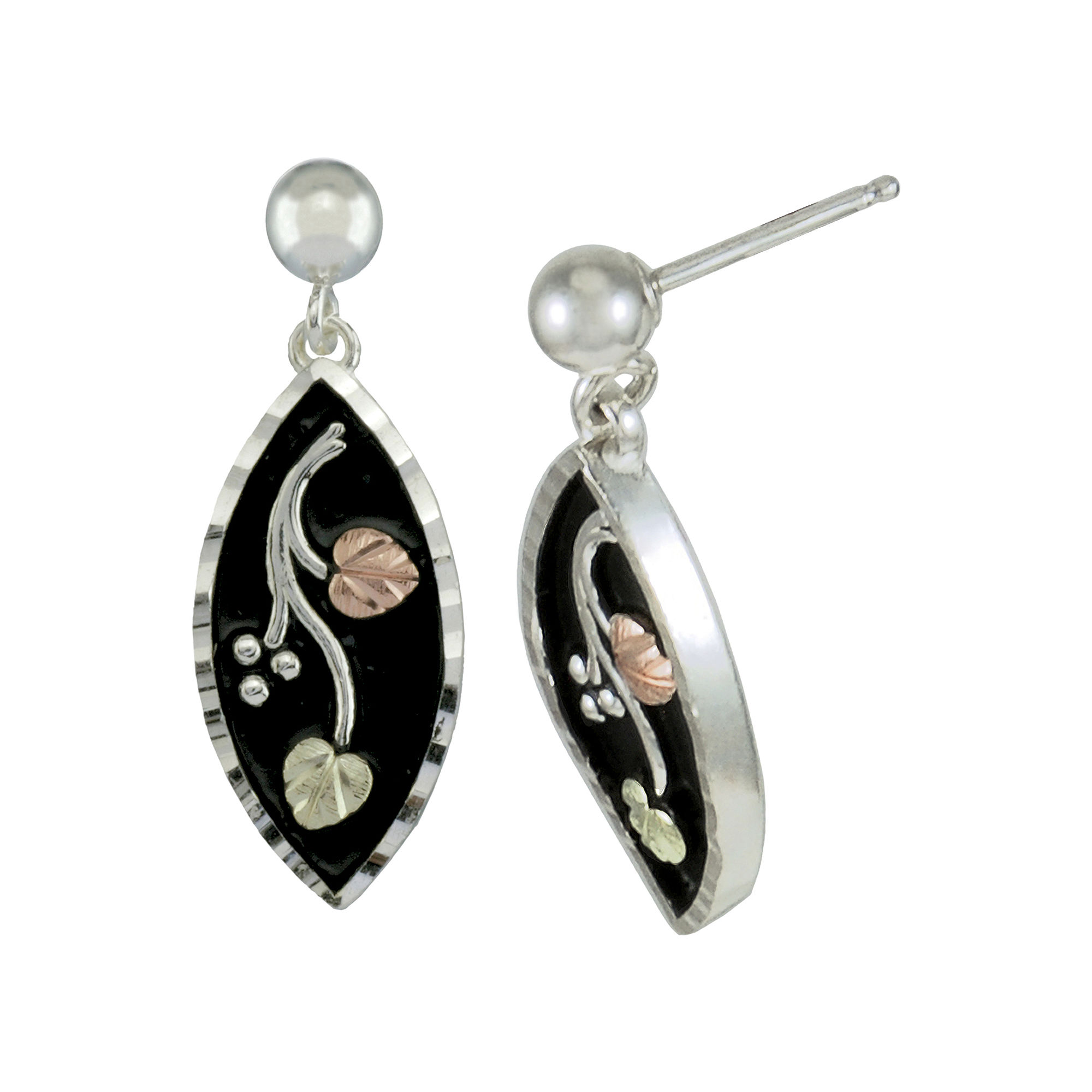 Black Hills Gold Jewelry by Coleman Floral Earrings Sterling Silver & 10K Gold